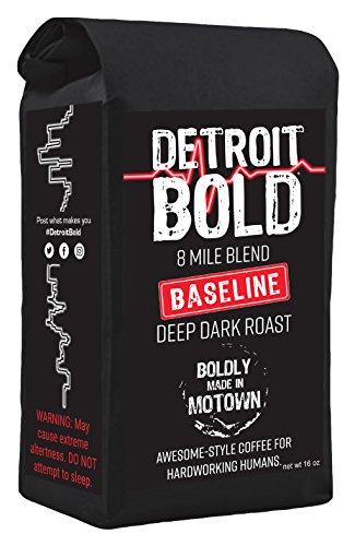 8 Mile Baseline Coffee - Dark Roast - Whole Bean - 16 Ounce Bag - 100 Arabica - Detroit Bold Coffee