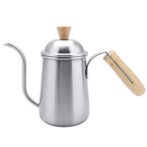 Coffee Drip Pot Kitchen Cafe 650ml 304 Stainless Steel Coffee Drip Pot Kettle with Long Gooseneck SpoutSilver