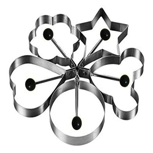 Jason&Aerobic Egg Ring Mold for Pancake Silver Pack of 5 Shape