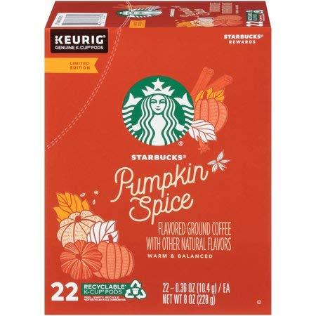 Starbucks Pumpkin Spice Flavored Coffee k cups 22 pods