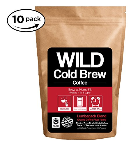 Cold Brew Coffee Kit Brew-At-Home Wild Coffee Pouch made with Ground Organic Wild Coffee Fair trade Single-origin Fresh roasted High-performance Coffee Lumberjack Blend 10 Pouch