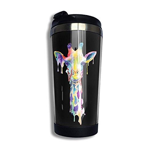 Watercolor Giraffe Stainless Steel Vacuum Travel Coffee Mug Tumblers 136 Oz Coffee Cup Flask