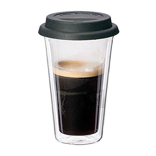 Dictea Tea Tumbler Travel Mug Cup Double Wall Insulated Borosilicate Glass For To Go Coffee Tea Hot Drinks Includes BPA-Free Silicon Travel Lid 14 Ounces