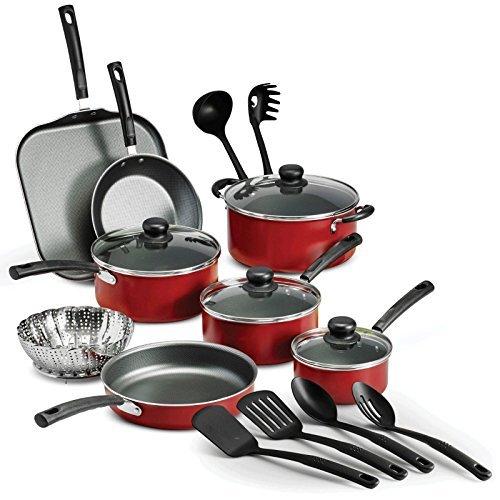18 Piece Nonstick Pots Pans Cookware Set Kitchen Kitchenware Cooking NEW