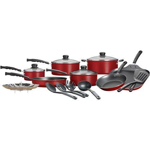18 Piece Nonstick Pots Pans Cookware Set Kitchen Kitchenware Cooking NEW Red