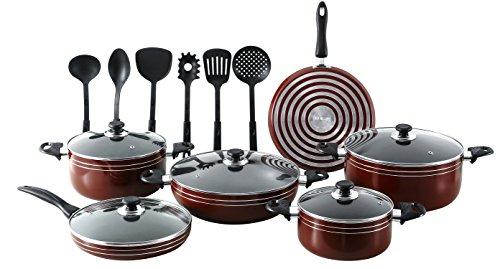 Major-QSEEMANN 17 Piece X-Large Nonstick Pots and Pans Kitchen Cookware Gift Set with Cooking Utensils Dark RED