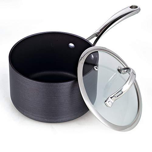 Cooks Standard 3-Quart Hard Anodized Nonstick Saucepan with Lid Black Renewed
