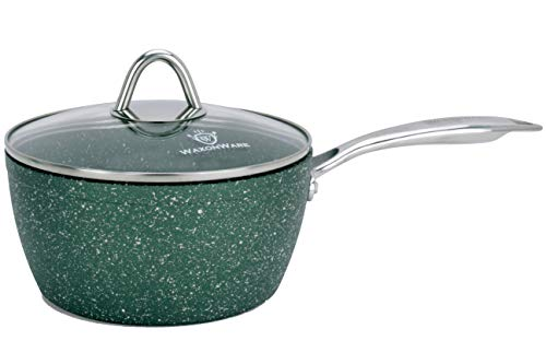 WaxonWare 25 Quart Stone Nonstick Saucepan With Glass Lid Scratch Resistant Non Toxic APEO PFOA Free Nonstick Cookware Cooking Pot Induction Compatible Dishwasher Oven Safe EMERALD Series