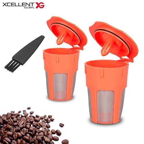 Xcellent Global 2 Pack Reusable Coffee Filter Reusable K-Cups for Carafe Keurig 20 K200 K300 K400 K500 Series