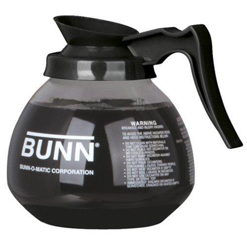 BUNN Coffee Pot Decanter  Carafe Black Regular - New Glass Design Shape - Ergonomic Handle - 12 Cup Capacity -