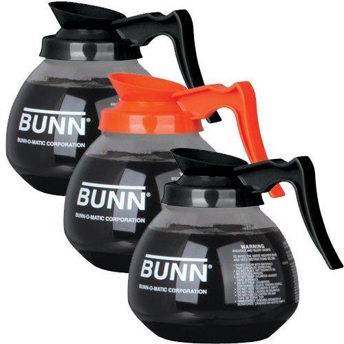 BUNN Regular and Decaf Glass Coffee Pot Decanter  Carafe 12 Cup 2 Black and 1 Orange Set of 3