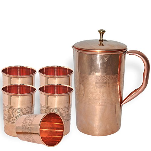Dungri India Pure Copper Pitcher Jug 1600 ML  54 Oz With 5 Copper Tumbler Glass Cup for Ayurvedic Health Benefits - Handmade Best Quality