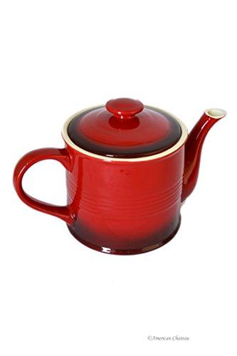 405oz Large Vintage Red Black Stoneware Teapot with Lid