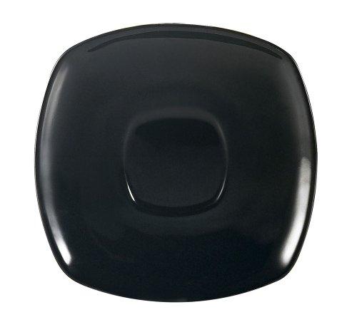 CAC China KC-2-BLK Color Arts 6-Inch Black Stoneware Square Saucer Box of 36