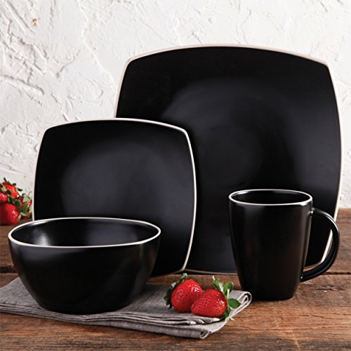 Durable Black Stoneware Soho Lounge Matte 16pc Dinnerware Set