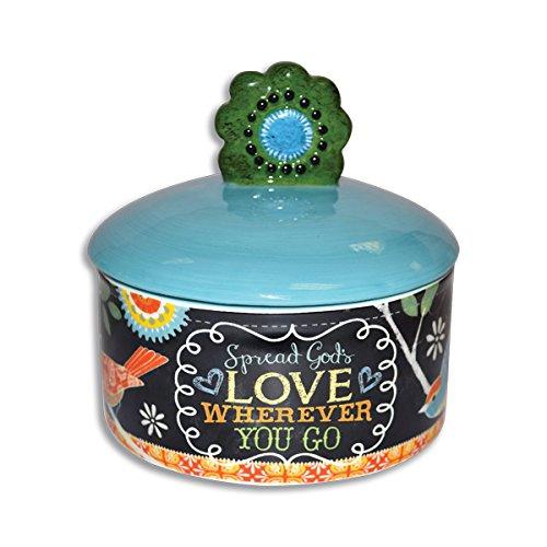 Divinity Boutique 23856 Chalk Bird Sugar Bowl with Lid Multicolor