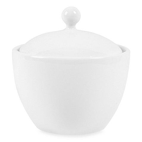 White Porcelain Sugar Bowl with Lid 15 Oz
