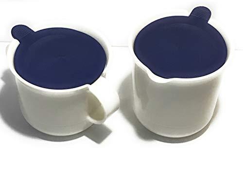 Nice Vintage White wBlue Lid Sugar Bowl Creamer Set