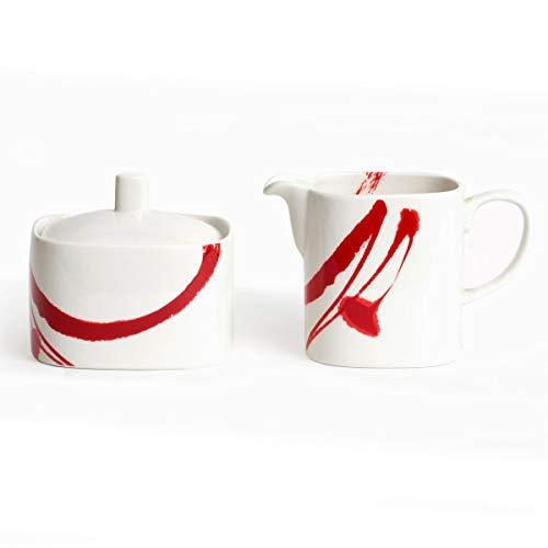 Paint It Red Sugar Bowl Creamer Set White Porcelain 3 Piece Microwave Safe