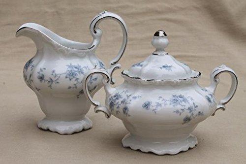 johan haviland blue garland sugar bowl and creamer set new with box