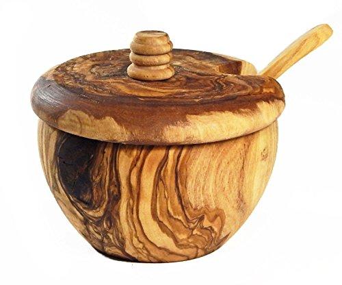 Le Souk Olivique Olive Wood Sugar Bowl with Lid Spoon Medium Natural