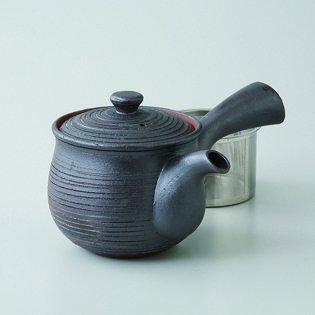 Japanese porcelain Hasami ware black sendan SS teapot hsm-J32-73458
