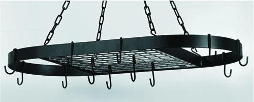 325 x 17 Oval Matte Black Hanging Pot Rack 12 HooksChain
