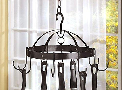 Kitchen Ceiling Mounted Hanging Pot And Pans Lid Storage Rack Shelf Metal Holder Hooks Home Bar Decorative
