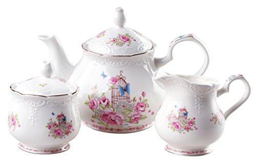 Jusalpha Fine china vintage rose teapot and creamer set