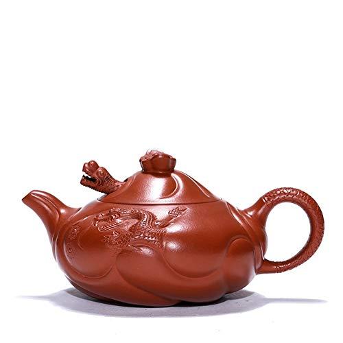SHENLIJUAN Yixing teapot famous hand-ore Zhuni fish dragon teapot travel tea Color  Zhu Mu Size  One size