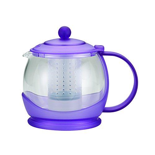 BonJour Tea Prosperity Borosilicate Glass Teapot with Plastic Frame 42-Ounce French Lavender