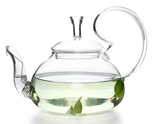 Emoyi Blooming Tea Handmade Clear Heat Resistant Borosilicate Glass Teapot Infuser 25oz750ml