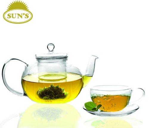 Suns Tea TM 32oz Ultra Clear Heat Resistant Borosilicate Glass Teapot Infuser for loose tea or display tea