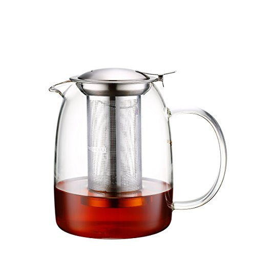 Toyo Hofu Clear Glass Teapot with Infuser High Borosilicate Glass Teapot with Removable 304 Stainless Steel InfuserStovetop Safe 1100ml37oz