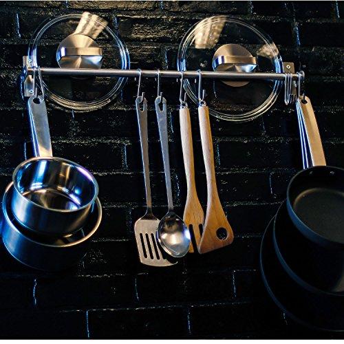 Stainless Steel Gourmet Kitchen 2325 Inch Wall Rail Pot Pan Utensil Lid Rack Storage Organizer with 10 S Hooks