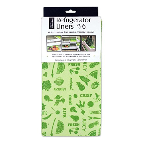 DII Non Adhesive Cut to Fit Machine Washable Fridge Liner For Drawers Bins Trays Protect Produce Set of 6 12 x 24 - Green