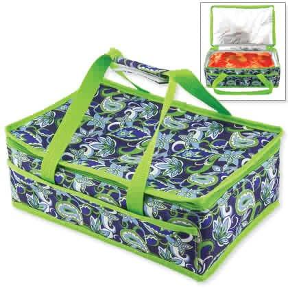 Insulated Casserole Travel Bag Portable Carrier Warmer, Modern Blue & Green Design