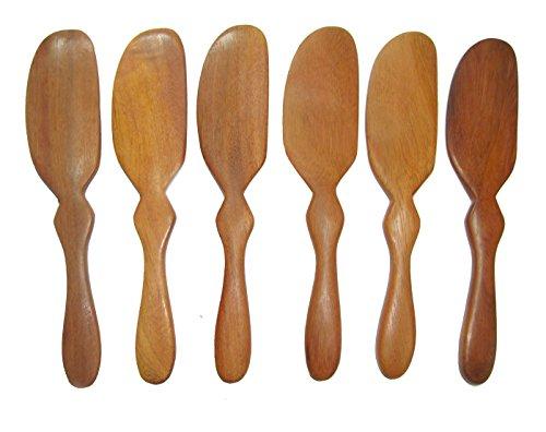 NareeGreen 6 Pieces  Wooden Butter Knife Cheese Spreader 6  Restaurant Grade