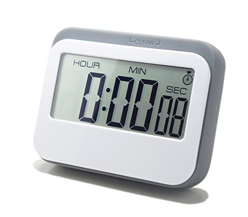 LeisureLife - Multifunction Large LCD Display Digital Timer 3 mode - ClockCountupCountdown Accurate to seconds For CookingStudyGames grey