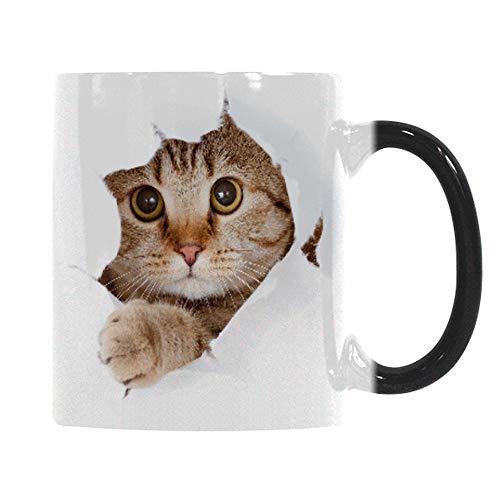Heat Changing Mug Caliamary Funny Cat Heat Changing Ceramic Coffee Mug 11 oz Heat Sensitive Color Changing Coffee Mug Cup Cute Xmas Gift Mug for Women Men Kids Cat