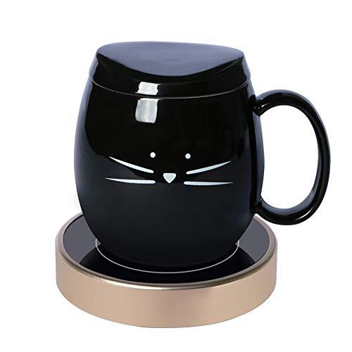 Koolkatkoo Coffee Mug Warmer and Cute Cat Coffee Mug for Office Desk Beverage Warmer with Two Temperature Settings 14oz