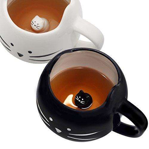 Koolkatkoo Cute Cat Coffee Mug Set for Girls Women Ceramic Kitty Tea Couple Mugs for Cat Lovers 12 oz Meow Cup Black and White