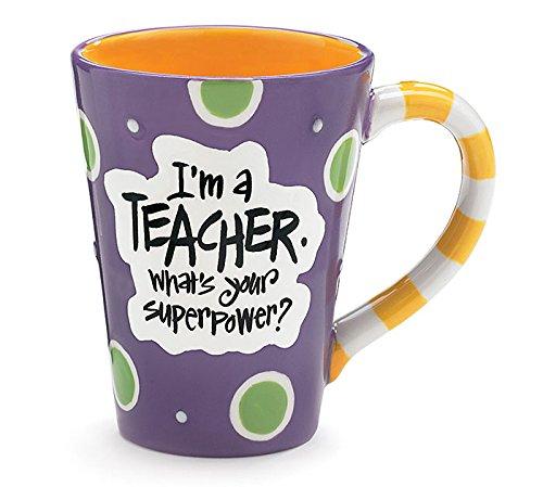 Im A Teacher Whats Your Super Power Teacher 12 oz Coffee Mug Great Gift Purple
