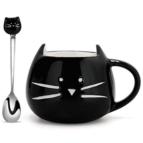 Koolkatkoo Cute Ceramic Black Kitty Mug and Spoon Set 12 oz  Coffee Mug Gift Cat Lover Gift Anniversary Gifts