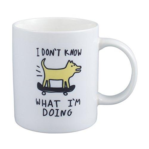 Neolith Novelty Cute Mugs I Dont Know What Im Doing Mug 12 Oz Ceramic Coffee Mug with A Dog Skateboarding
