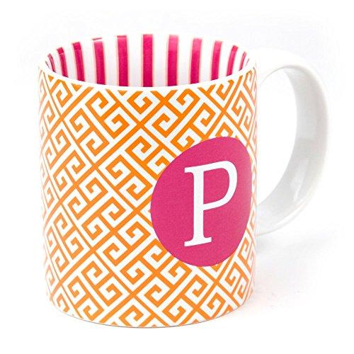 Orange Pink Letter P Greek Key 12 Oz Coffee Mug
