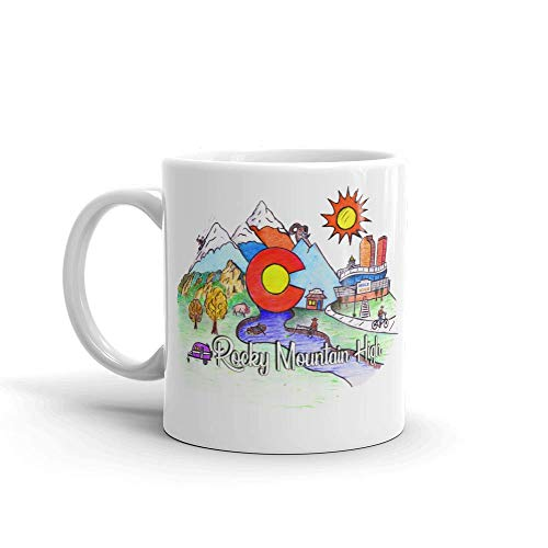 Full Color Hand Drawn Colorado Art One Of A Kind Novelty 11oz White Ceramic Glass Coffee Tea Mug Cup Full Color