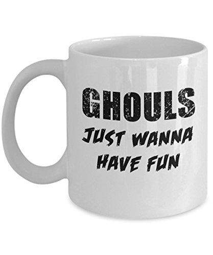 Ghouls Just Wanna Have Fun Halloween White Acrylic Coffee Mug 11oz