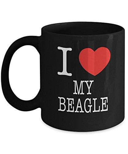 I Heart My Beagle Dog Lover Acrylic Coffee Mug Black 11oz