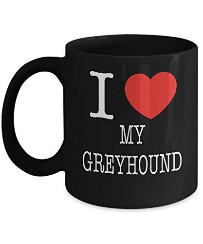 I Heart My Greyhound Dog Lover Acrylic Coffee Mug Black 11oz